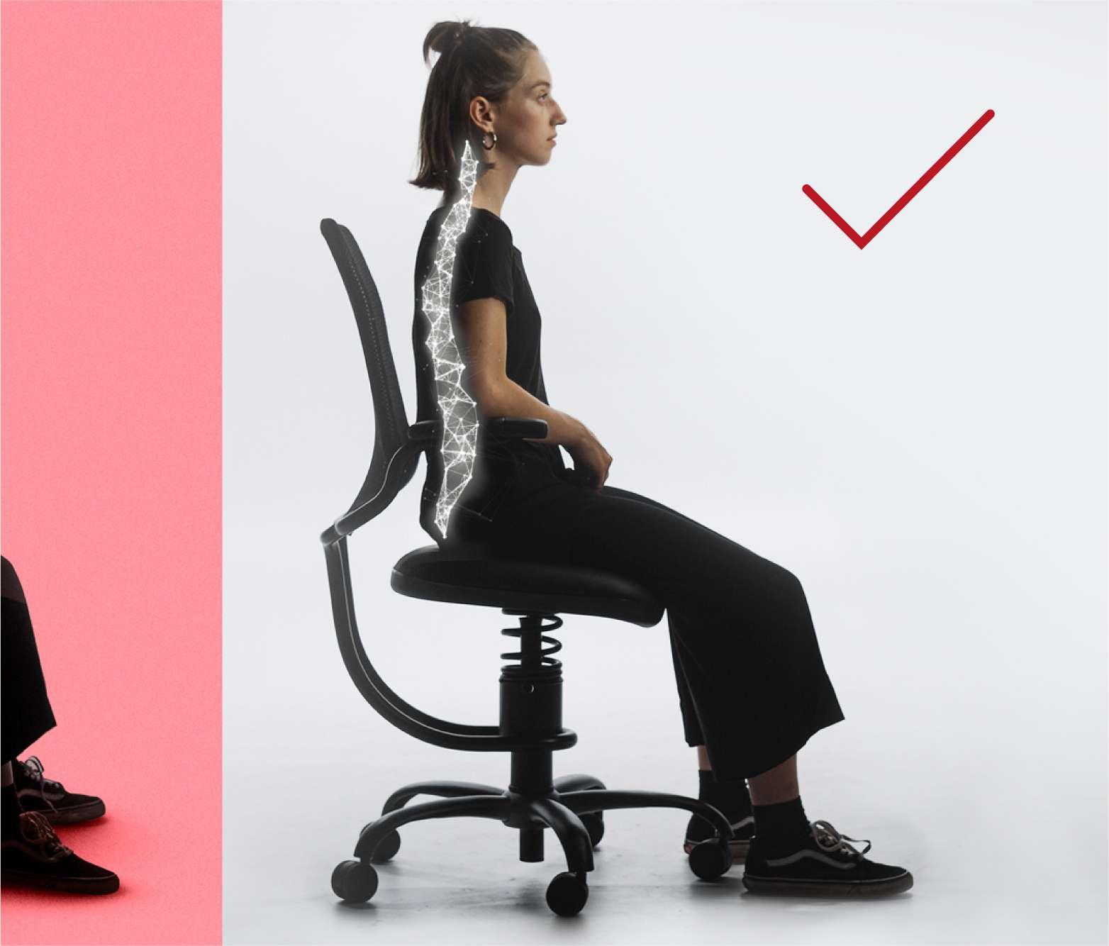 SpinaliS stol omogoča oporo in spodbuja pravilno sedenje, brez napora.