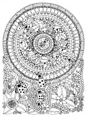 Mandala krog in liki pod mandalo
