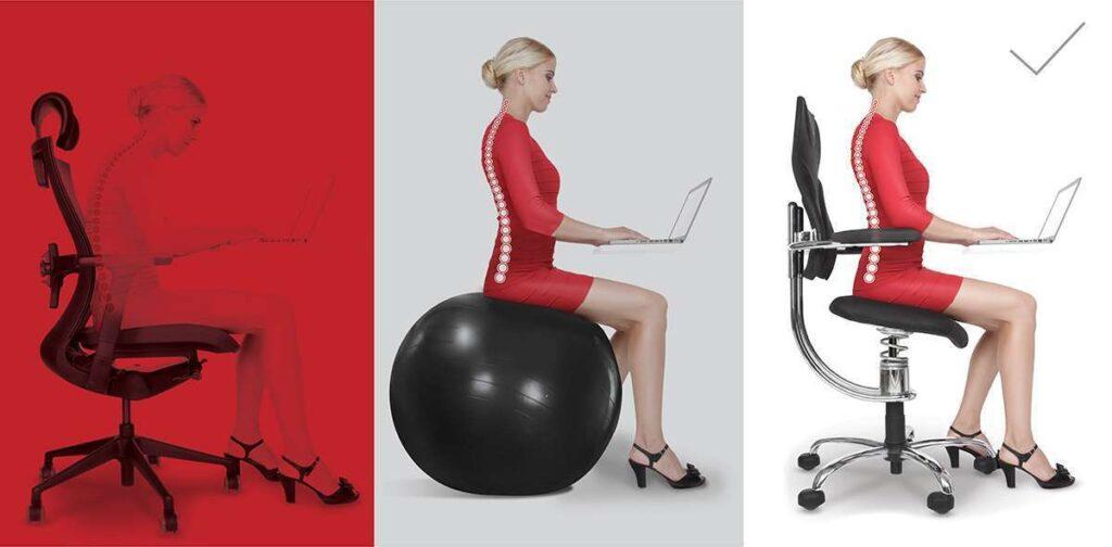 Pisarniški stoli in terapevtska žoga prikazuje sedenje